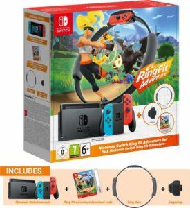 Nintendo Switch Console - Blauw - Rood - Nieuw model + Ring Fit Adventure